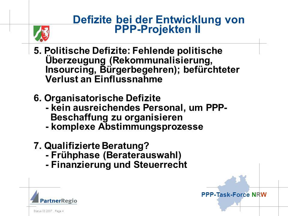 Status 03.2007, Page 5 PPP-Task-Force NRW Defizite bei der Durchführung von PPP-Projekten 8.