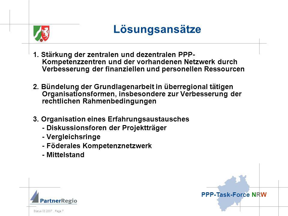 Status 03.2007, Page 8 PPP-Task-Force NRW Lösungsansätze II 4.