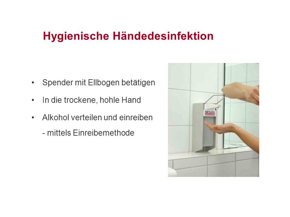 Hygienische Händedesinfektion Spender mit Ellbogen betätigen In die trockene, hohle Hand Alkohol verteilen und einreiben - mittels Einreibemethode