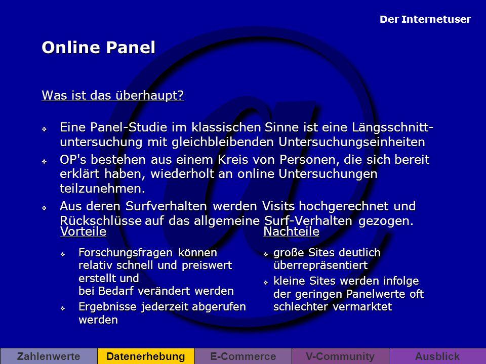 @ Der Internetuser ZahlenwerteDatenerhebungE-CommerceV-CommunityAusblickDatenerhebung Online Panel Was ist das überhaupt?  Eine Panel-Studie im klass