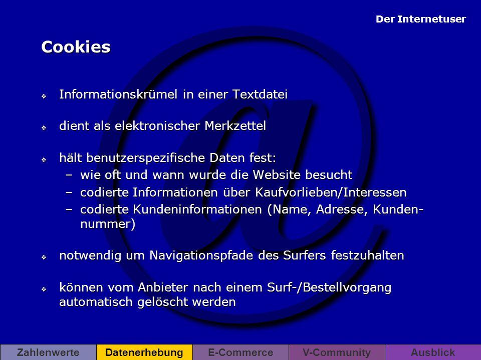 @ Der Internetuser ZahlenwerteDatenerhebungE-CommerceV-CommunityAusblick Cookies  Informationskrümel in einer Textdatei  dient als elektronischer Me