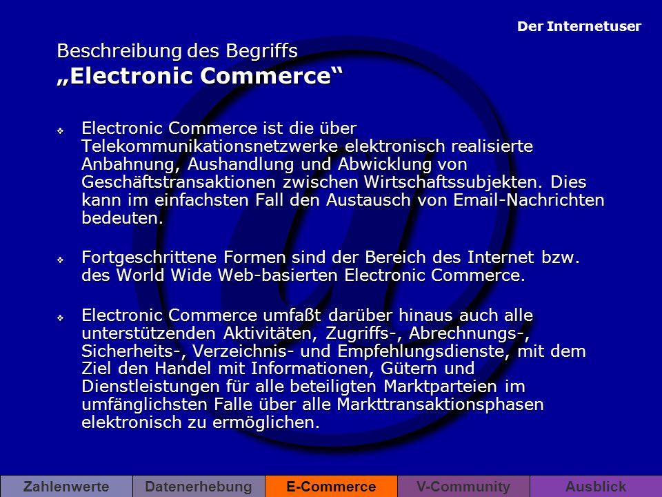 """@ Der Internetuser ZahlenwerteDatenerhebungE-CommerceV-CommunityAusblick Beschreibung des Begriffs """"Electronic Commerce""""  Electronic Commerce ist die"""