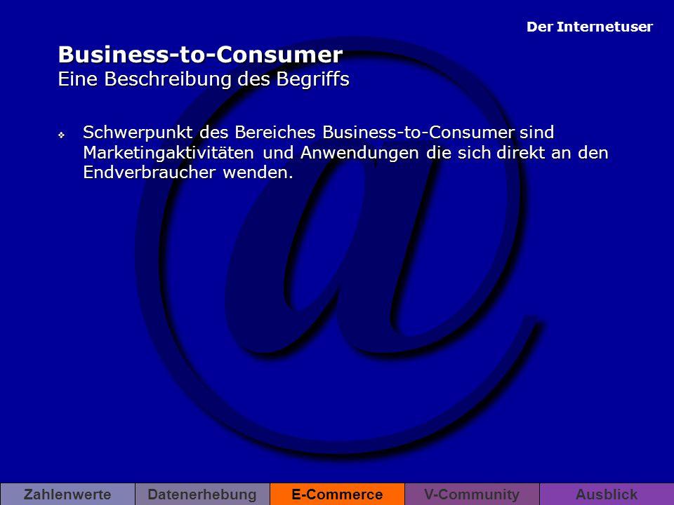 @ Der Internetuser ZahlenwerteDatenerhebungE-CommerceV-CommunityAusblick Business-to-Consumer Eine Beschreibung des Begriffs  Schwerpunkt des Bereich