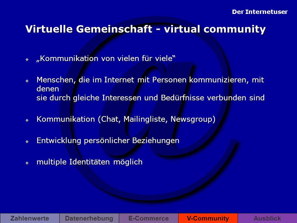 """@ ZahlenwerteDatenerhebungE-CommerceV-CommunityAusblick Virtuelle Gemeinschaft - virtual community  """"Kommunikation von vielen für viele""""  Menschen,"""