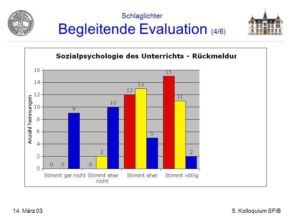 14. März 035. Kolloquium SFIB Schlaglichter Begleitende Evaluation (4/6)