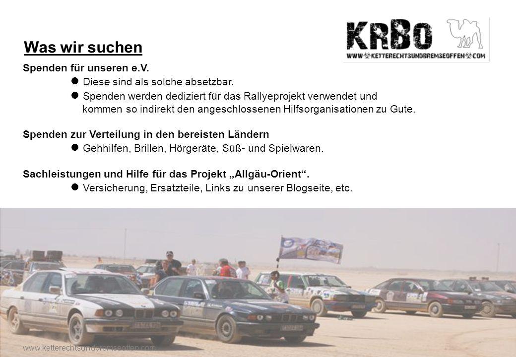 Was wir bieten Werbefläche auf den Rallyefahrzeugen Logo im Werbeauftritt von Logo in der GPS Verfolgung Namensnennung im Team-Video Spendenquittung eine gute Sache www.ketterechtsundbremseoffen.com
