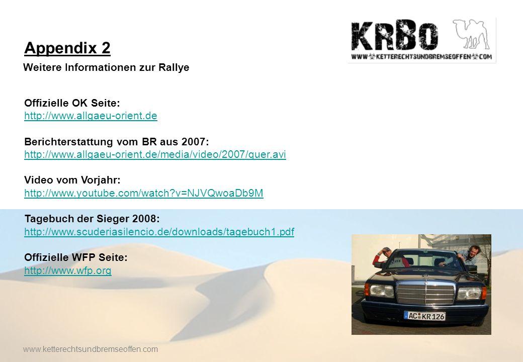 Appendix 2 Weitere Informationen zur Rallye Offizielle OK Seite: http://www.allgaeu-orient.de Berichterstattung vom BR aus 2007: http://www.allgaeu-orient.de/media/video/2007/quer.avi Video vom Vorjahr: http://www.youtube.com/watch v=NJVQwoaDb9M Tagebuch der Sieger 2008: http://www.scuderiasilencio.de/downloads/tagebuch1.pdf Offizielle WFP Seite: http://www.wfp.org www.ketterechtsundbremseoffen.com