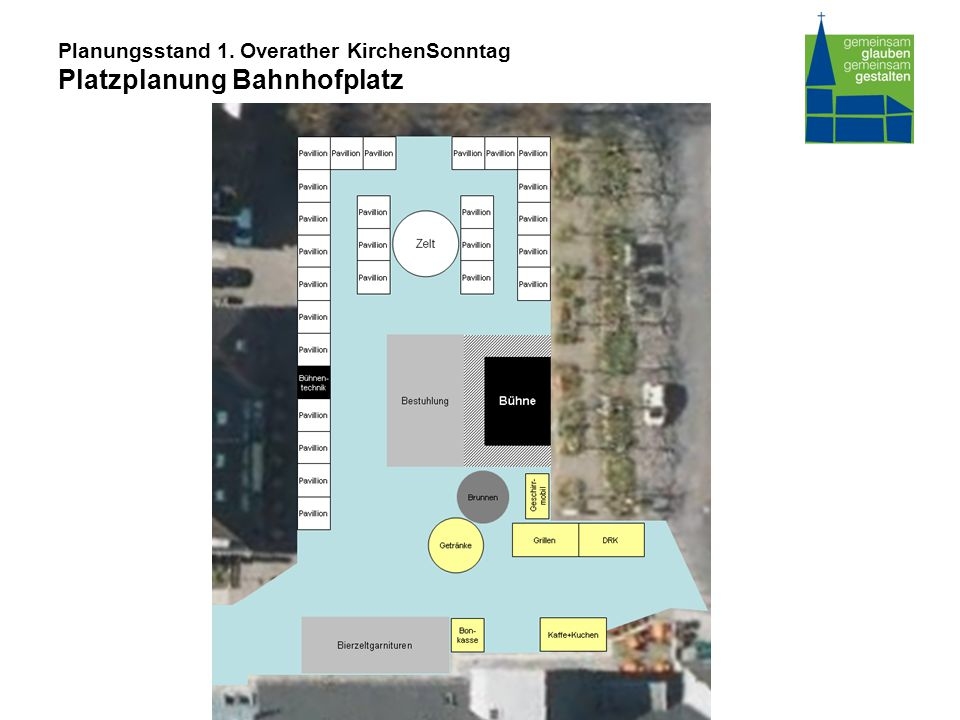 Planungsstand 1. Overather KirchenSonntag Platzplanung Bahnhofplatz
