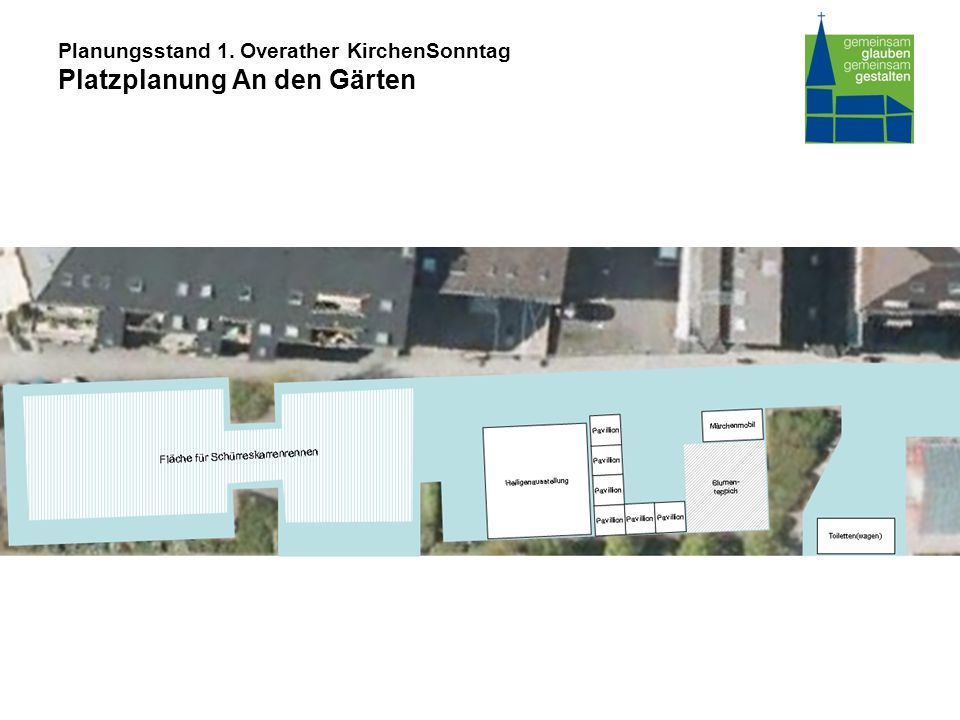 Planungsstand 1. Overather KirchenSonntag Platzplanung An den Gärten