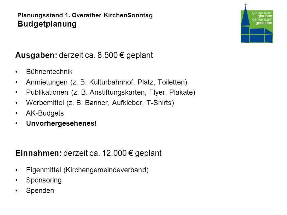 Planungsstand 1. Overather KirchenSonntag Budgetplanung Ausgaben: derzeit ca.
