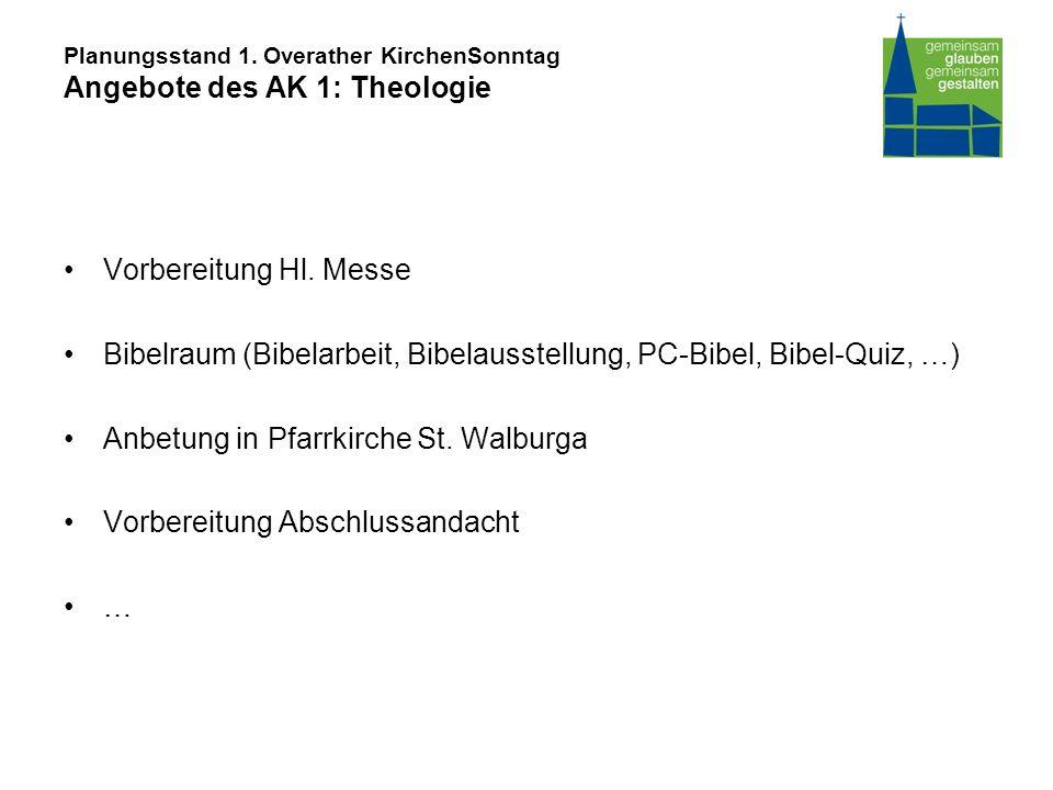 Planungsstand 1. Overather KirchenSonntag Angebote des AK 1: Theologie Vorbereitung Hl.