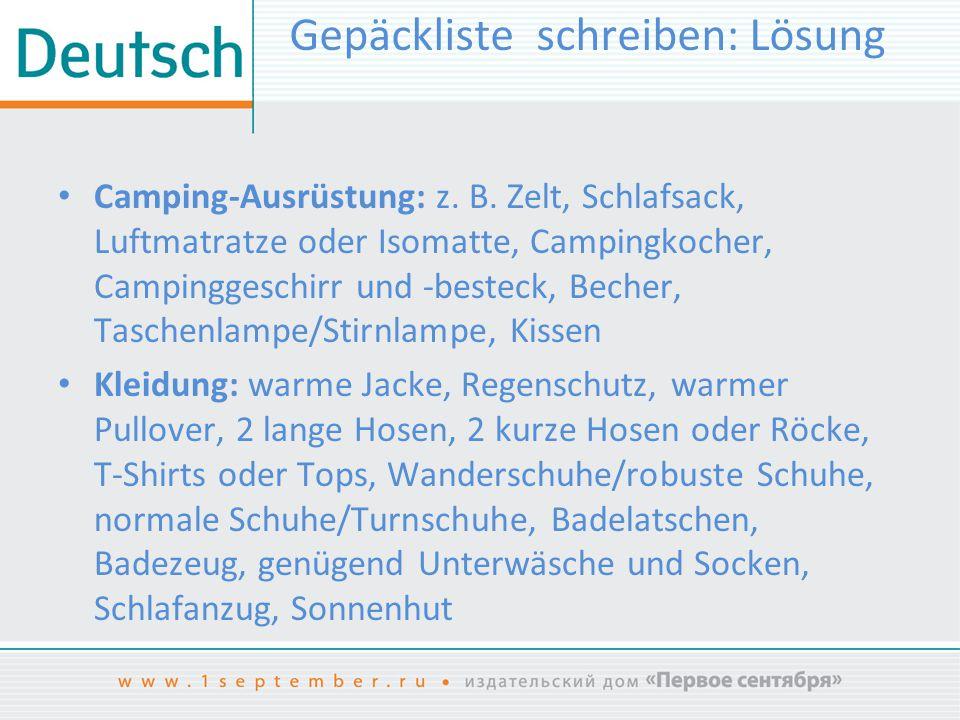 Gepäckliste schreiben: Lösung Camping-Ausrüstung: z.