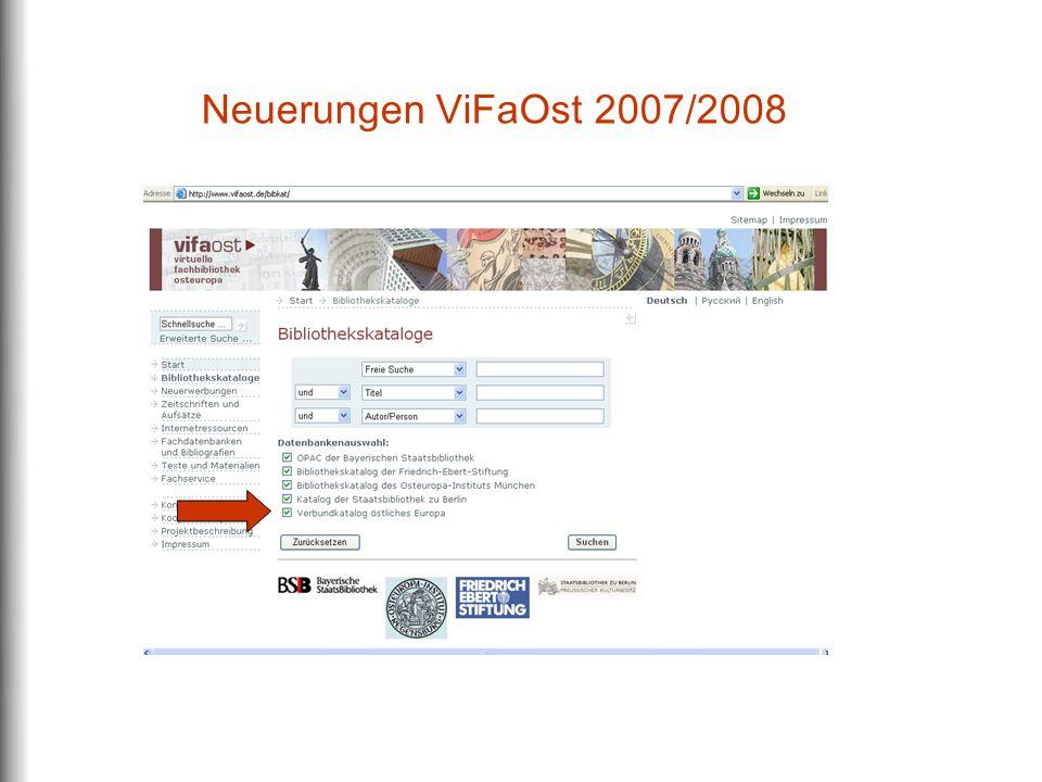 Neuerungen ViFaOst 2007/2008