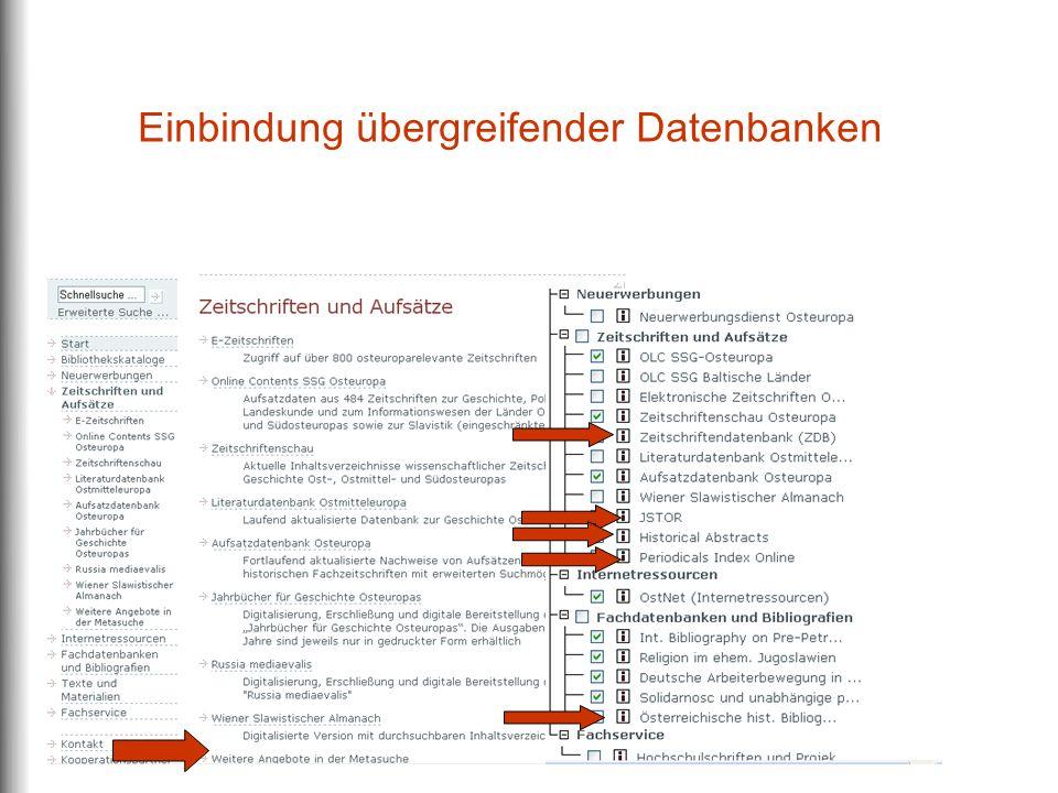 Einbindung übergreifender Datenbanken