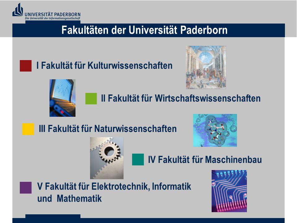 I Fakultät für Kulturwissenschaften III Fakultät für Naturwissenschaften V Fakultät für Elektrotechnik, Informatik und Mathematik IV Fakultät für Maschinenbau II Fakultät für Wirtschaftswissenschaften Fakultäten der Universität Paderborn