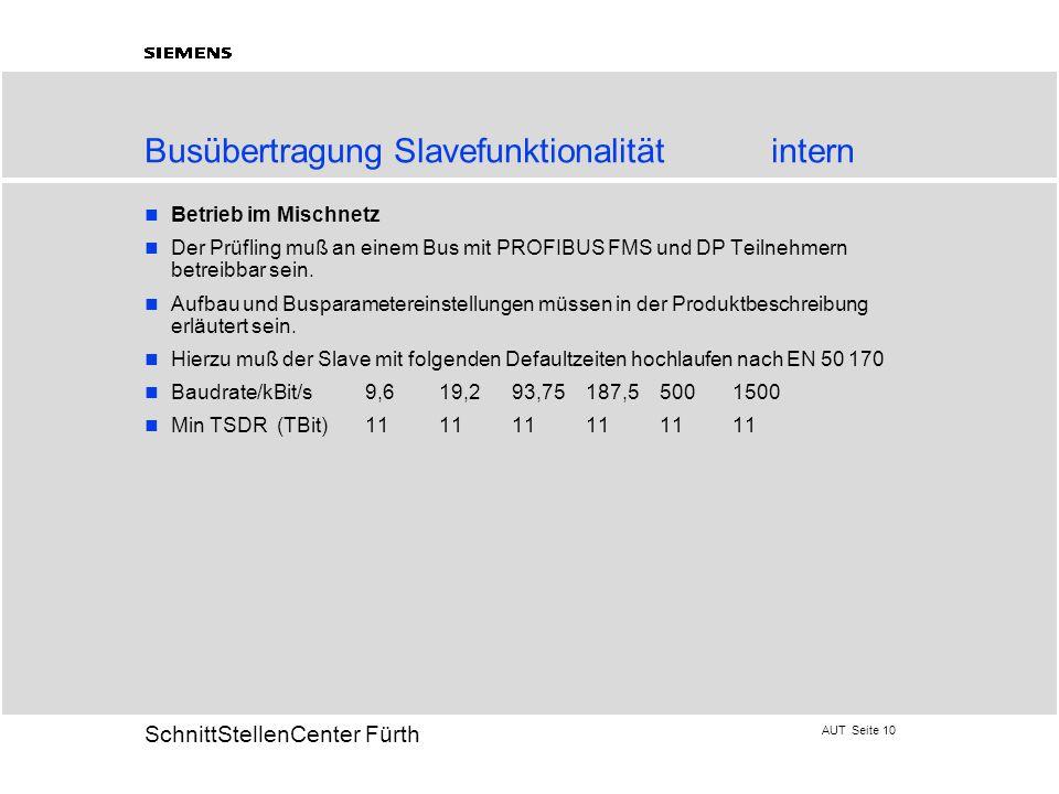 AUT Seite 10 20 SchnittStellenCenter Fürth Betrieb im Mischnetz Der Prüfling muß an einem Bus mit PROFIBUS FMS und DP Teilnehmern betreibbar sein. Auf