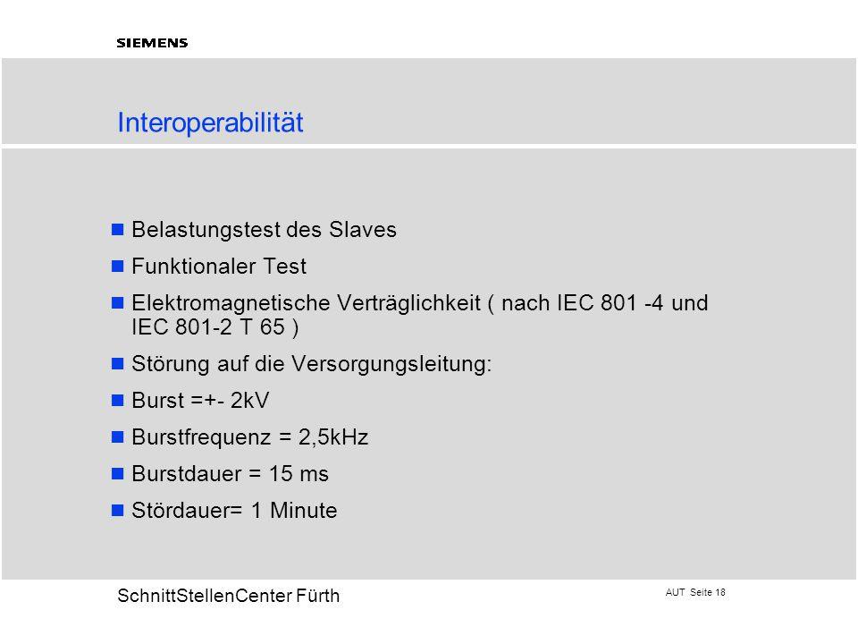 AUT Seite 18 20 SchnittStellenCenter Fürth Interoperabilität Belastungstest des Slaves Funktionaler Test Elektromagnetische Verträglichkeit ( nach IEC