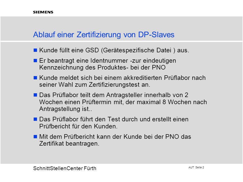 AUT Seite 2 20 SchnittStellenCenter Fürth Ablauf einer Zertifizierung von DP-Slaves Kunde füllt eine GSD (Gerätespezifische Datei ) aus. Er beantragt