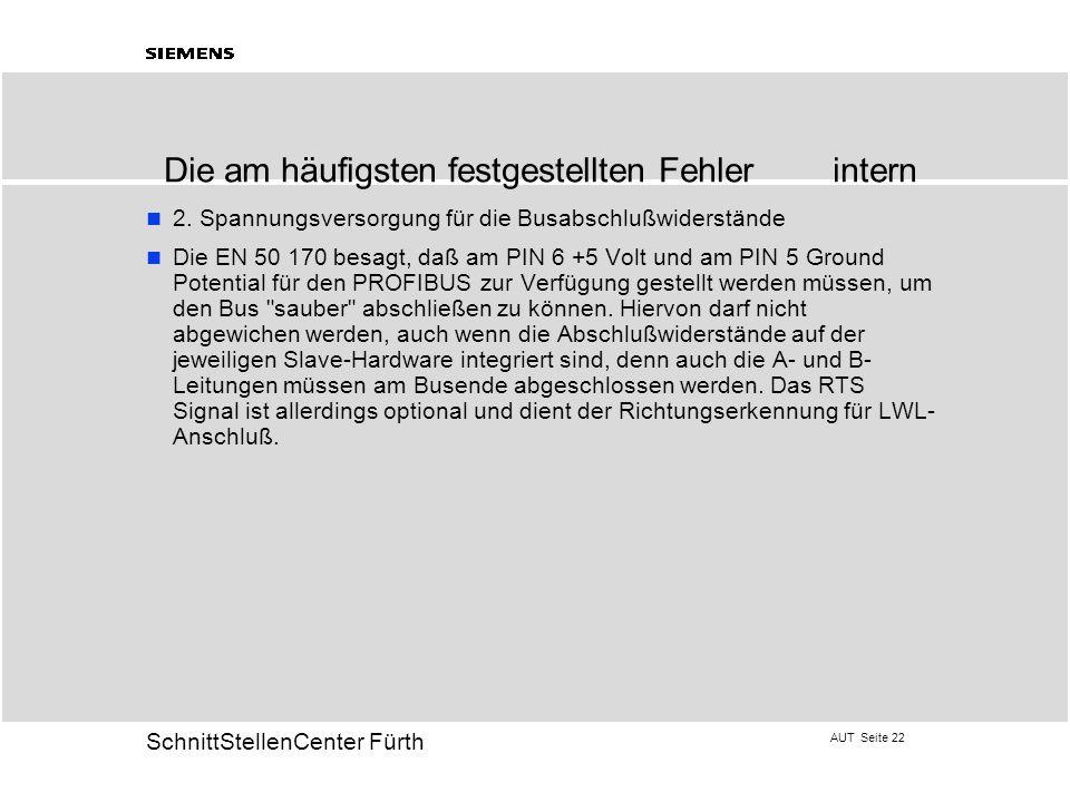 AUT Seite 22 20 SchnittStellenCenter Fürth 2. Spannungsversorgung für die Busabschlußwiderstände Die EN 50 170 besagt, daß am PIN 6 +5 Volt und am PIN
