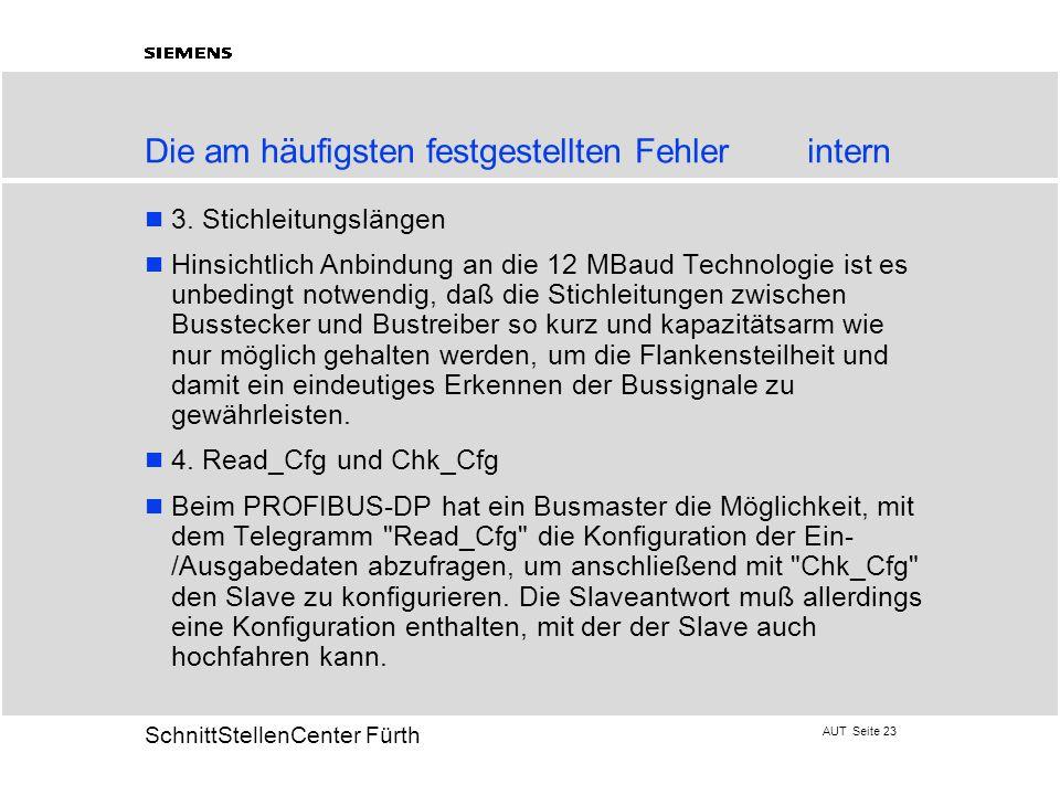 AUT Seite 23 20 SchnittStellenCenter Fürth Die am häufigsten festgestellten Fehlerintern 3. Stichleitungslängen Hinsichtlich Anbindung an die 12 MBaud