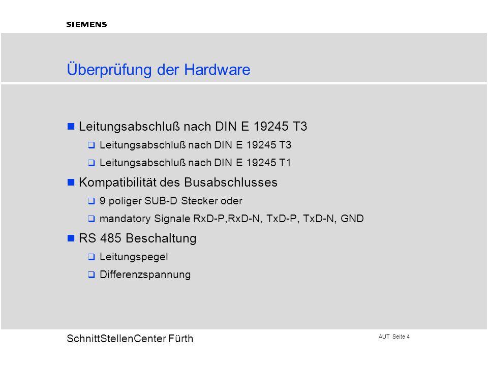 AUT Seite 4 20 SchnittStellenCenter Fürth Überprüfung der Hardware Leitungsabschluß nach DIN E 19245 T3  Leitungsabschluß nach DIN E 19245 T3  Leitu