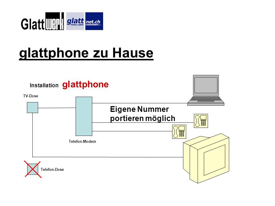 glattphone zu Hause TV-Dose Telefon-Modem Telefon-Dose Installation glattphone Eigene Nummer portieren möglich