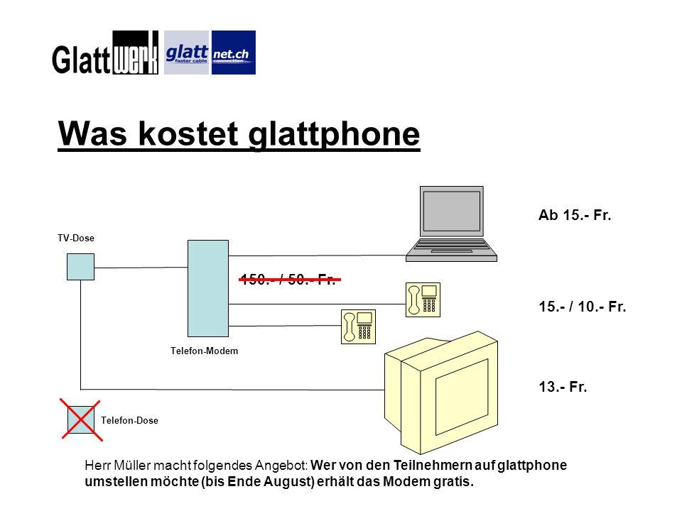 Vergleich glattphone / swisscom Kosten Swisscom TV-Dose Kabel-Modem Telefon-Dose Bestehende Installation Ab 15.- Fr 13.- Fr 25.- Fr Ab 9.- Fr +Telefongebühren Fr.