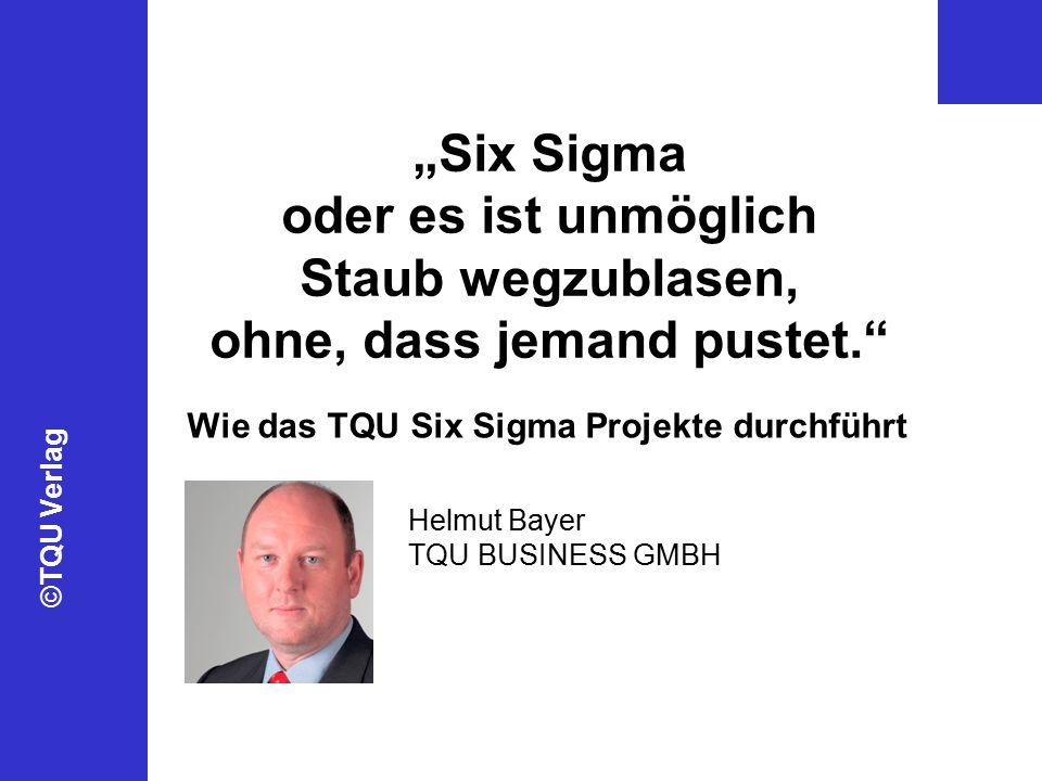 """©TQU Verlag """"Six Sigma oder es ist unmöglich Staub wegzublasen, ohne, dass jemand pustet. Wie das TQU Six Sigma Projekte durchführt Helmut Bayer TQU BUSINESS GMBH"""