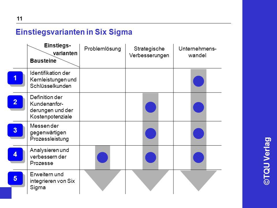 ©TQU Verlag 11 Einstiegsvarianten in Six Sigma ProblemlösungStrategische Verbesserungen Unternehmens- wandel Identifikation der Kernleistungen und Sch