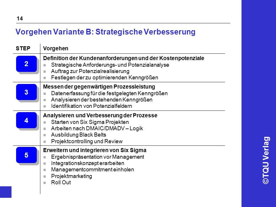 ©TQU Verlag 14 Vorgehen Variante B: Strategische Verbesserung STEPVorgehen Definition der Kundenanforderungen und der Kostenpotenziale n Strategische