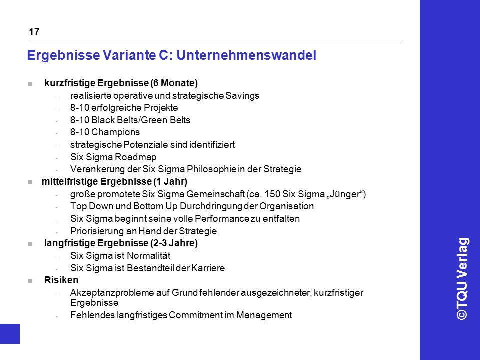 ©TQU Verlag 17 Ergebnisse Variante C: Unternehmenswandel n kurzfristige Ergebnisse (6 Monate) - realisierte operative und strategische Savings - 8-10