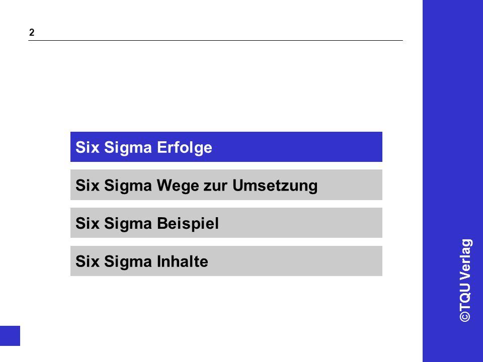 ©TQU Verlag 2 Six Sigma Wege zur Umsetzung Six Sigma Erfolge Six Sigma Beispiel Six Sigma Inhalte