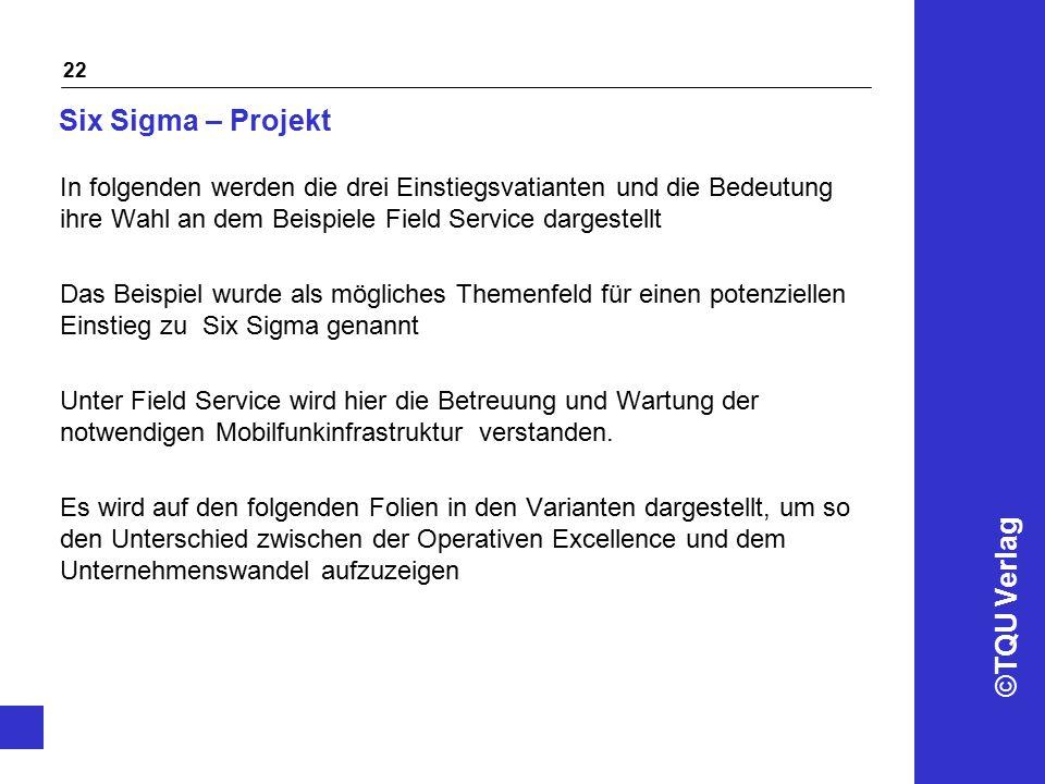 ©TQU Verlag 22 Six Sigma – Projekt In folgenden werden die drei Einstiegsvatianten und die Bedeutung ihre Wahl an dem Beispiele Field Service dargeste