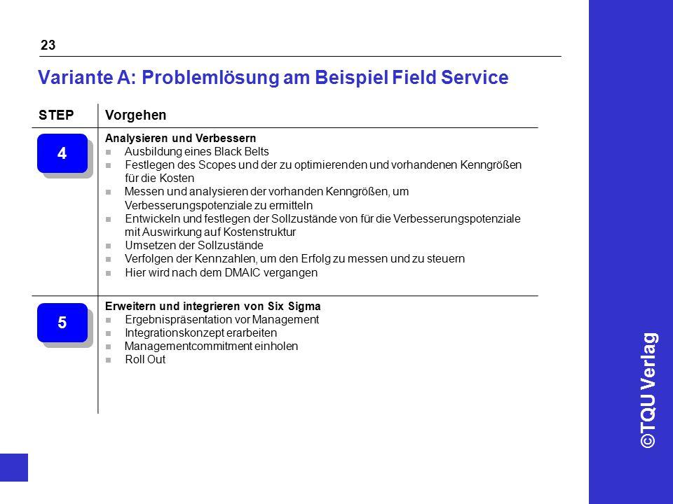 ©TQU Verlag 23 Variante A: Problemlösung am Beispiel Field Service STEPVorgehen Analysieren und Verbessern n Ausbildung eines Black Belts n Festlegen