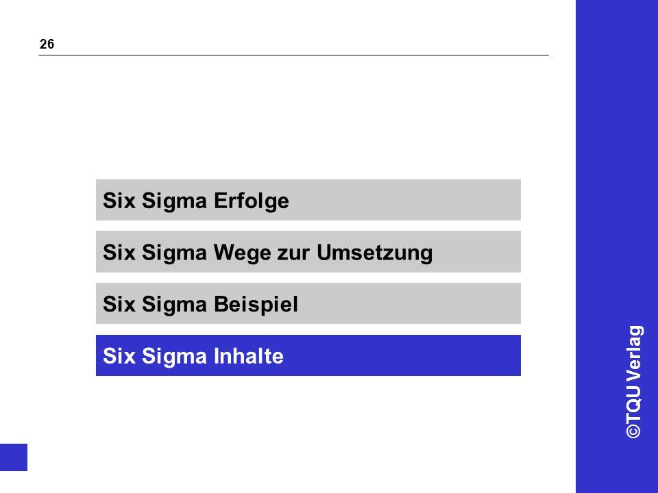 ©TQU Verlag 26 Six Sigma Wege zur Umsetzung Six Sigma Erfolge Six Sigma Beispiel Six Sigma Inhalte