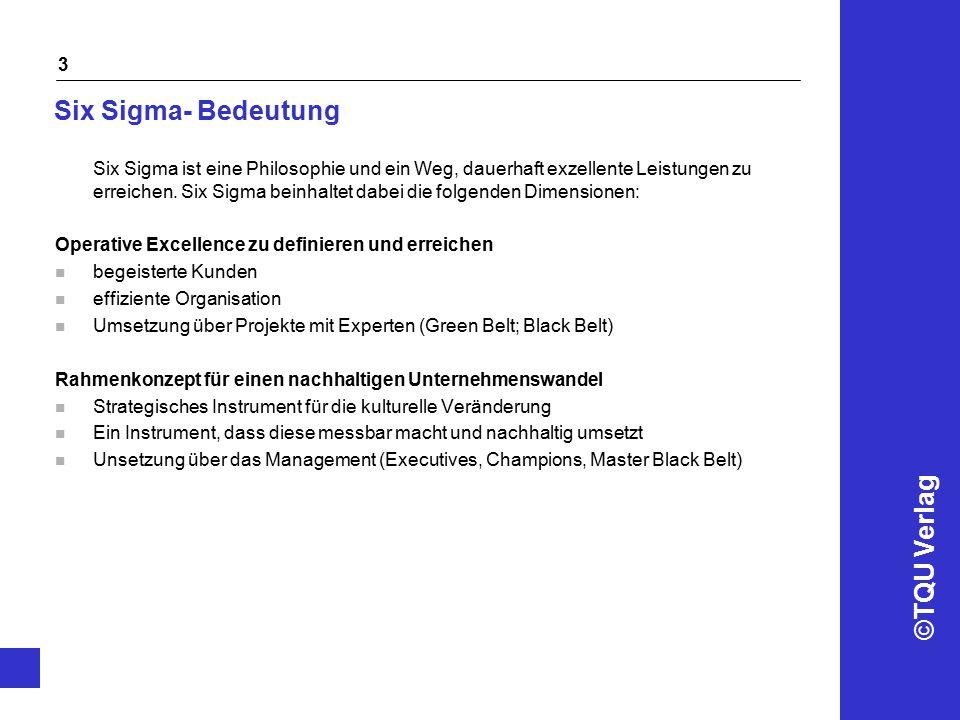 ©TQU Verlag 14 Vorgehen Variante B: Strategische Verbesserung STEPVorgehen Definition der Kundenanforderungen und der Kostenpotenziale n Strategische Anforderungs- und Potenzialanalyse n Auftrag zur Potenzialrealisierung n Festlegen der zu optimierenden Kenngrößen Messen der gegenwärtigen Prozessleistung n Datenerfassung für die festgelegten Kenngrößen n Analysieren der bestehenden Kenngrößen n Identifikation von Potenzialfeldern Analysieren und Verbesserung der Prozesse n Starten von Six Sigma Projekten n Arbeiten nach DMAIC/DMADV – Logik n Ausbildung Black Belts n Projektcontrolling und Review Erweitern und integrieren von Six Sigma n Ergebnispräsentation vor Management n Integrationskonzept erarbeiten n Managementcommitment einholen n Projektmarketing n Roll Out 2 2 3 3 4 4 5 5