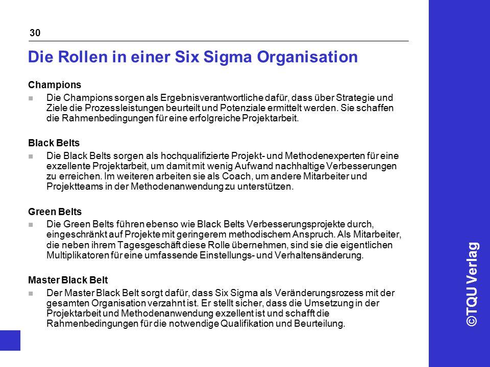 ©TQU Verlag 30 Die Rollen in einer Six Sigma Organisation Champions n Die Champions sorgen als Ergebnisverantwortliche dafür, dass über Strategie und Ziele die Prozessleistungen beurteilt und Potenziale ermittelt werden.