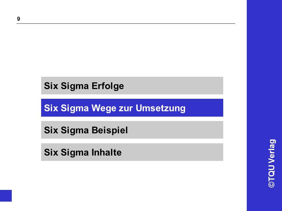 ©TQU Verlag 9 Six Sigma Wege zur Umsetzung Six Sigma Erfolge Six Sigma Beispiel Six Sigma Inhalte