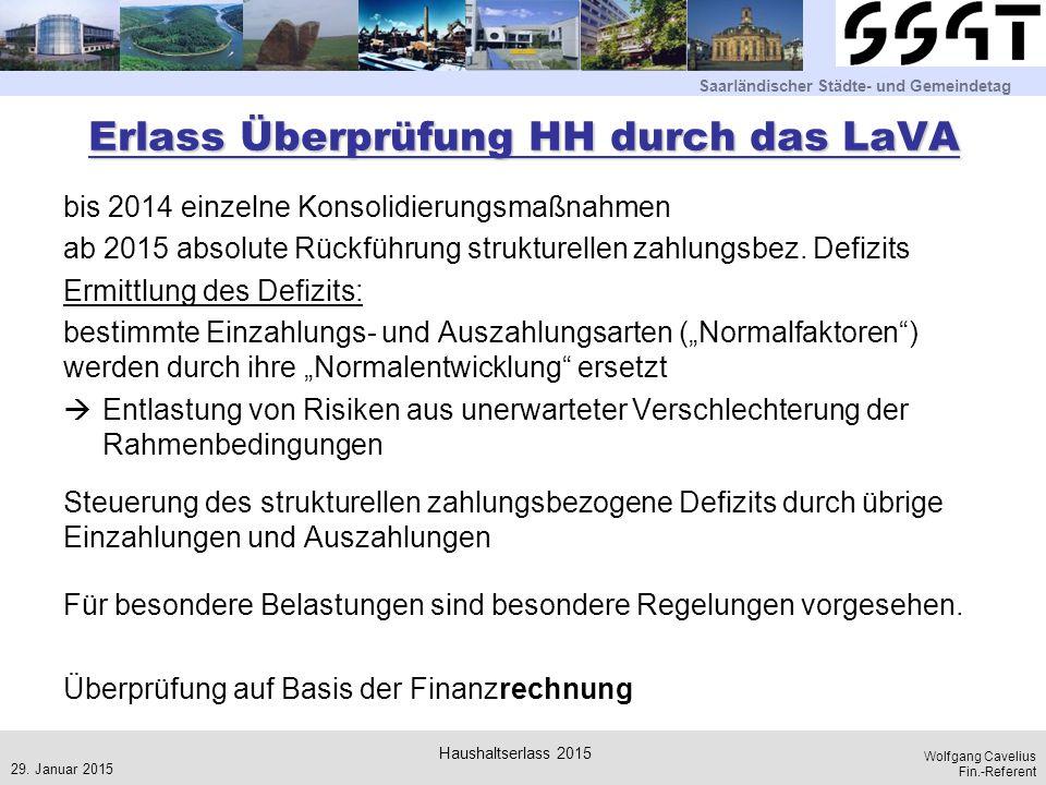 Saarländischer Städte- und Gemeindetag Wolfgang Cavelius Fin.-Referent Erlass Überprüfung HH durch das LaVA bis 2014 einzelne Konsolidierungsmaßnahmen