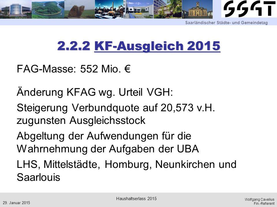 Saarländischer Städte- und Gemeindetag Wolfgang Cavelius Fin.-Referent 2.2.2 KF-Ausgleich 2015 FAG-Masse: 552 Mio. € Änderung KFAG wg. Urteil VGH: Ste