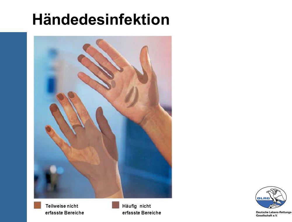 © Deutsche-Lebens-Rettungs- Gesellschaft e.V. Händedesinfektion Teilweise nicht erfasste Bereiche Häufig nicht erfasste Bereiche