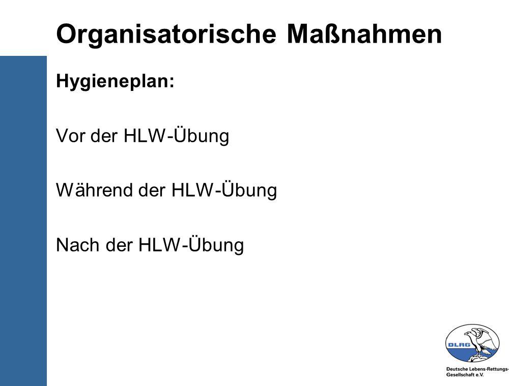 © Deutsche-Lebens-Rettungs- Gesellschaft e.V. Organisatorische Maßnahmen Hygieneplan: Vor der HLW-Übung Während der HLW-Übung Nach der HLW-Übung