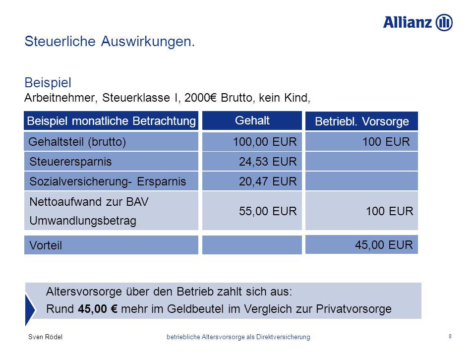 Sven Rödel betriebliche Altersvorsorge als Direktversicherung 8 Steuerliche Auswirkungen. Beispiel Arbeitnehmer, Steuerklasse I, 2000€ Brutto, kein Ki
