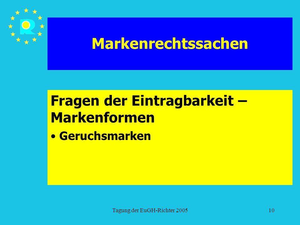 Tagung der EuGH-Richter 200510 Markenrechtssachen Fragen der Eintragbarkeit – Markenformen Geruchsmarken