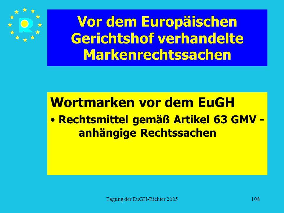 Tagung der EuGH-Richter 2005108 Vor dem Europäischen Gerichtshof verhandelte Markenrechtssachen Wortmarken vor dem EuGH Rechtsmittel gemäß Artikel 63 GMV - anhängige Rechtssachen