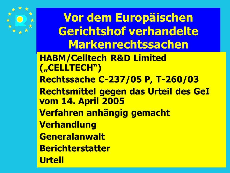 """Tagung der EuGH-Richter 2005109 Vor dem Europäischen Gerichtshof verhandelte Markenrechtssachen HABM/Celltech R&D Limited (""""CELLTECH ) Rechtssache C-237/05 P, T-260/03 Rechtsmittel gegen das Urteil des GeI vom 14."""