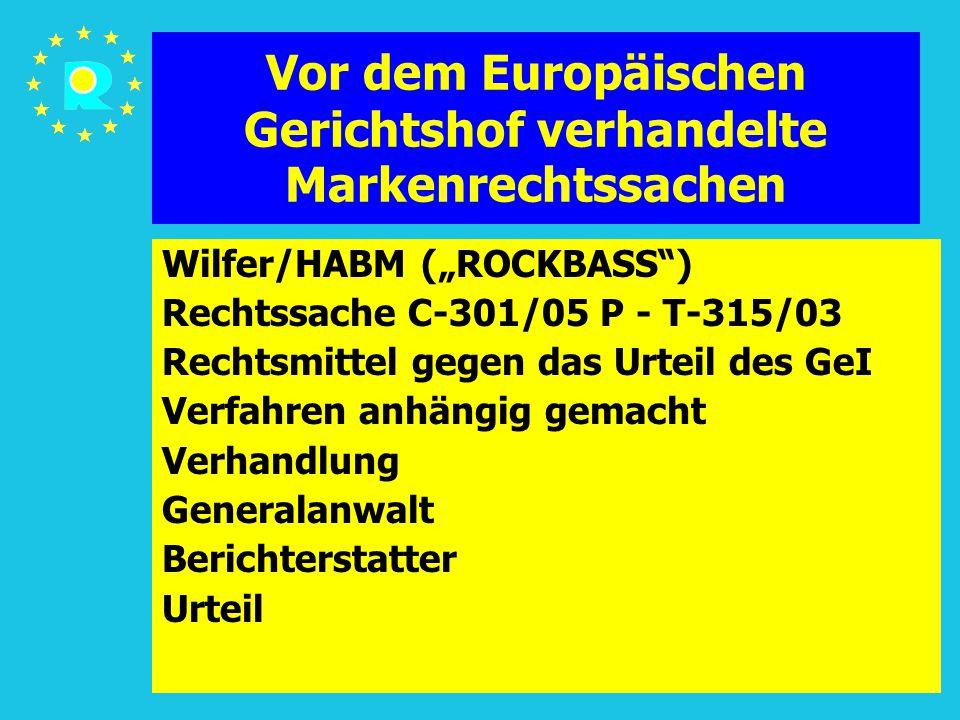 """Tagung der EuGH-Richter 2005110 Vor dem Europäischen Gerichtshof verhandelte Markenrechtssachen Wilfer/HABM (""""ROCKBASS"""") Rechtssache C-301/05 P - T-31"""