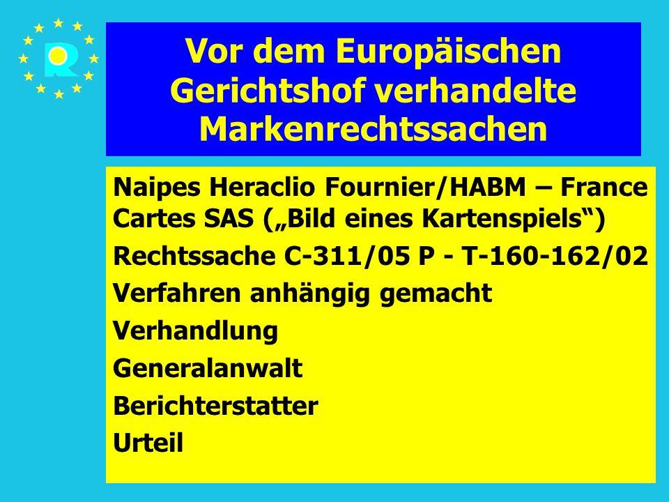 """Tagung der EuGH-Richter 2005112 Vor dem Europäischen Gerichtshof verhandelte Markenrechtssachen Naipes Heraclio Fournier/HABM – France Cartes SAS (""""Bild eines Kartenspiels ) Rechtssache C-311/05 P - T-160-162/02 Verfahren anhängig gemacht Verhandlung Generalanwalt Berichterstatter Urteil"""