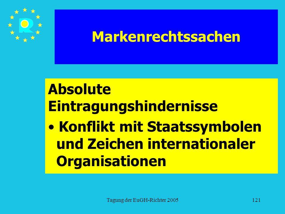 Tagung der EuGH-Richter 2005121 Markenrechtssachen Absolute Eintragungshindernisse Konflikt mit Staatssymbolen und Zeichen internationaler Organisatio