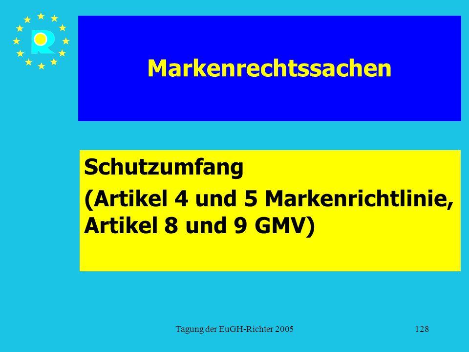 Tagung der EuGH-Richter 2005128 Markenrechtssachen Schutzumfang (Artikel 4 und 5 Markenrichtlinie, Artikel 8 und 9 GMV)